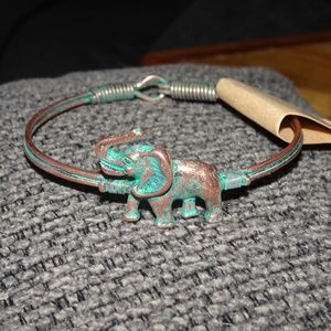 Copper Wire Bangle With Elephant Accent Piece